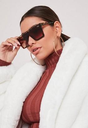 Missguided Quay Australia Hindsight Brown Leopard Print Sunglasses