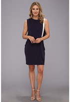 DKNY DKNYC Matte Jersey Drop Shoulder Draped Front Dress w/ Exposed Zipper
