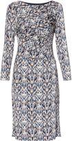 Gina Bacconi Blue Multi Print Jersey Dress