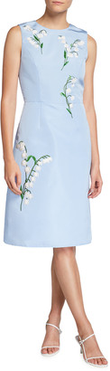 Carolina Herrera Floral-Embroidered Silk A-Line Dress