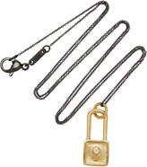 Monica Rich Kosann 18K Gold Diamond Square Lock Charm Necklace