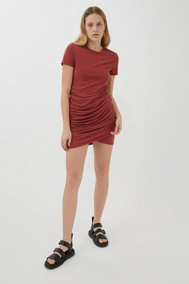 Urban Outfitters Lucena Ruched Short Sleeve Mini Dress