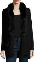 Milly Fox Fur-Trim Ribbed-Knit Wool Jacket, Black