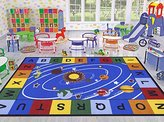 """Ottomanson Jenny Collection Blue Base with Multi Colors Kids Children's Educational Our Solar System Design Area Classroom Rugs, Light Blue, 5' x 6'6"""""""