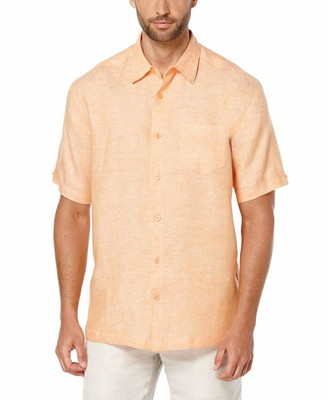 Cubavera 100% Linen Short Sleeve 1 Pocket Cross Dye Shirt
