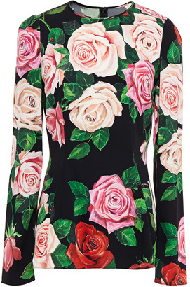 Dolce & Gabbana Floral-print Silk-blend Crepe Top