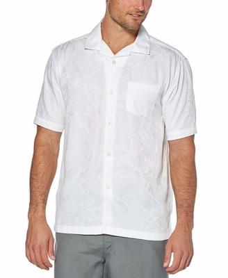 Cubavera Camp Collar Floral and Leaf Jacquard Shirt