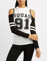 Charlotte Russe Squad 91 Cold Shoulder Football Tee
