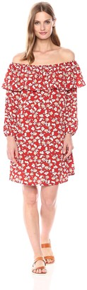 Glamorous Women's Off The Shoulder Flower Print Ruffle Dress