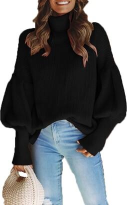 Fasumava Womens Knit Pullover Sweater Winter Casual Turtleneck Puff Sleeve Top Black XL