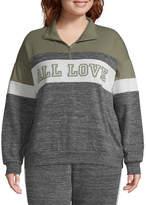 Flirtitude Juniors Plus Womens Mock Neck Long Sleeve Sweatshirt