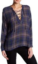 Lush Long Sleeve Plaid Lace-Up Blouse