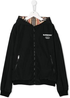 BURBERRY KIDS TEEN chest logo hooded jacket