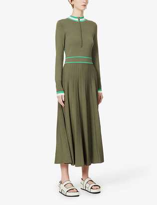 Me And Em Pleated stretch-knit midi dress