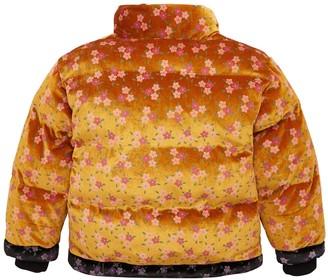 Very Girls Floral Velvet Padded Coat - Mustard