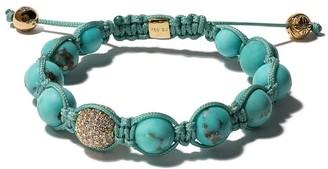 Shamballa 18kt yellow gold Jewels turquoise and diamond beaded bracelet