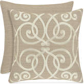 "J Queen New York Romano Ice Taupe 18"" Embroidered Square Decorative Pillow Bedding"