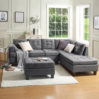 """Latitude Run Ericah 104.92"""" Wide Microfiber/Microsuede Right Hand Facing Sofa & Chaise with Ottoman Fabric: Gray"""