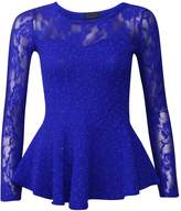 Forever Womens Lace Long Sleeves Mesh Popcorn Sequin Peplum Frill Top