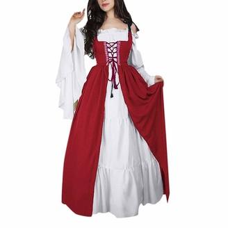JURTEE Women Vintage Square Collar Long Dress Bundle Corset Medieval Renaissance Party Dress Two-Piece Set(S