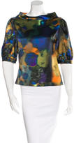 Erdem Abstract Print Short Sleeve Blouse