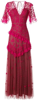 Needle & Thread V-neck ruffle trimmed gown