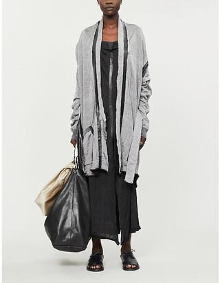 Selfridges Leather-trimmed wool cardigan