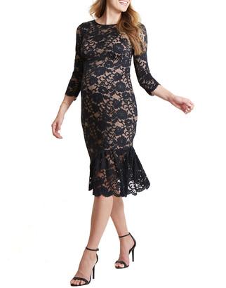 Ingrid & Isabel Maternity Stretch Lace 3/4-Sleeve Flounce Hem Dress