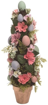 Transpac Wood 21 in. Multicolor Easter Flower and Egg Curled Topiary
