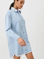 Missguided Oversized Stone Wash Denim Shirt Dress - Blue