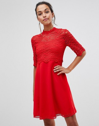Liquorish a-line dress with lace overlay top-Red