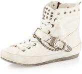 Sam Edelman Alexander Spiked Leather Sneaker, Snow