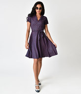 Unique Vintage Retro Style Navy & Pink Bicycle Print Short Sleeve Ava Flare Dress