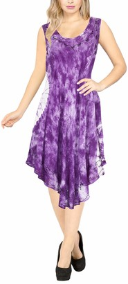 LA LEELA Floral Women's Embroidered Tie Dye Short Beach Dress Vintage Casual Midi Evening Loungewear Sleeveless Daily wear Tunic Dress One Size Large Cruise wear Violet_Y864 Size- 14-24