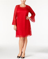 NY Collection Plus Size Bell-Sleeve Lace Dress