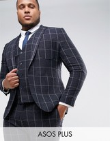 Asos PLUS Super Skinny Suit Jacket in Navy Check With Nep