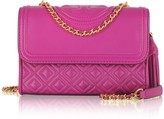 Tory Burch Fleming Party Fuchsia Leather Small Convertible Shoulder Bag