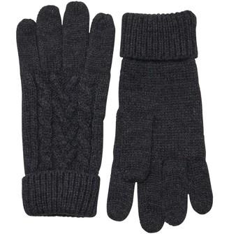 Kangaroo Poo Mens Knitted Cable Gloves Charcoal Marl
