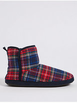 M&S Collection Tartan Pull-on Slipper Boots