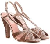 Valentino Crystal-embellished Velvet Sandals
