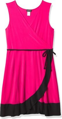 Star Vixen Women's Plus-Size Sleeveless Surplice Bodice Tulip Wrap Skirt Short Dress with Narrow Self-Tie Belt and Wide Colorblock Hem