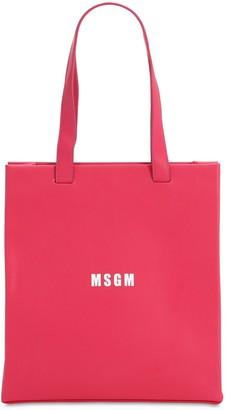 MSGM Logo Printed Faux Leather Bag