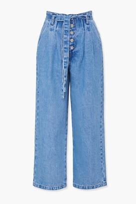 Forever 21 Wide-Leg Paperbag Jeans