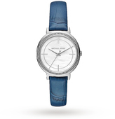 Michael Kors Cinthia Stainless-Steel and Denim Blue Leather Three-Hand Watch