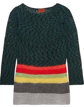 Missoni Color-block Crochet-knit Cotton-blend Sweater