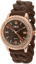 JCPenney TKO ORLOGI Womens Crystal-Accent Chain-Link Brown Strap Silicone Stretch Watch