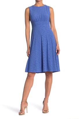 London Times Jersey Eyelet Midi Dress