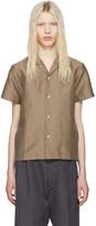 SASQUATCHfabrix. Beige Striped Open Collar Shirt