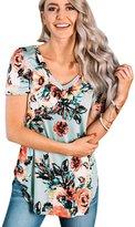 Aribelly Women's Floral Print Short Sleeve Blouse Tops T Shirt (S, )