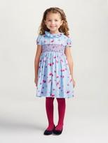 Oscar de la Renta Watercolor Fleur Cotton Smocked Dress